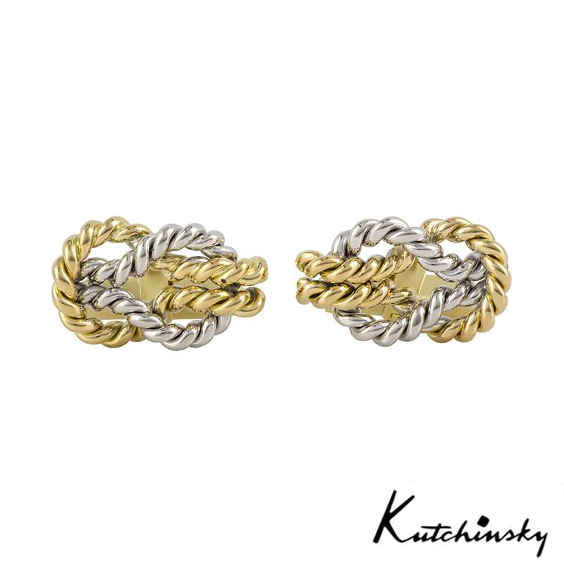 Kutchinsky 18k Yellow & White Gold Knot Cufflinks